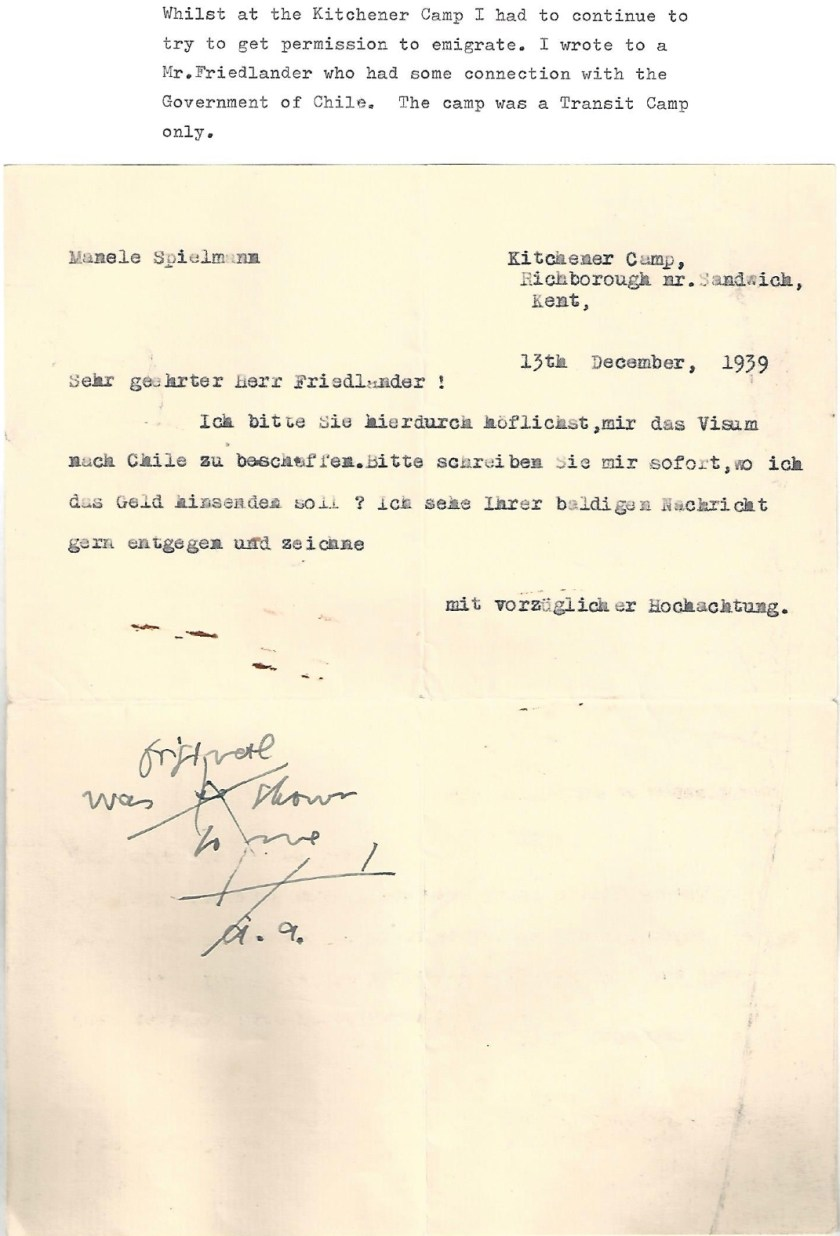 Kitchener camp, Manele Spielmann, Letter, Attempt to emigrate to Chile, 13 December 1939