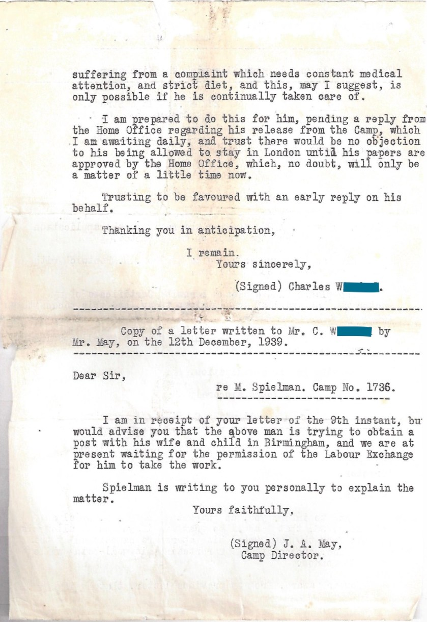 Kitchener camp, Manele Spielmann, Letter, Mr May, Camp Director, Applicaiton for extension of leave on guarantee, Professor Norman Bentwich, Medical needs, Labour Exchange, Birmingham, 16 November 1939, page 2