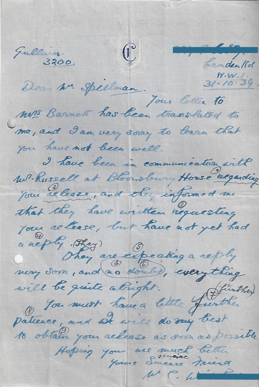 Manele Spielmann – Letters – Kitchener Camp