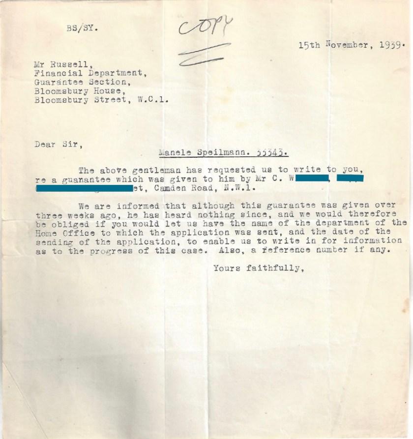 Kitchener camp, Manele Spielmann, Letter, Mr Russell, Bloomsbury House, Request for further information, 15 November 1939