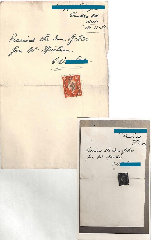 Kitchener camp, Manele Spielmann, Receipt document, 18 November 1939