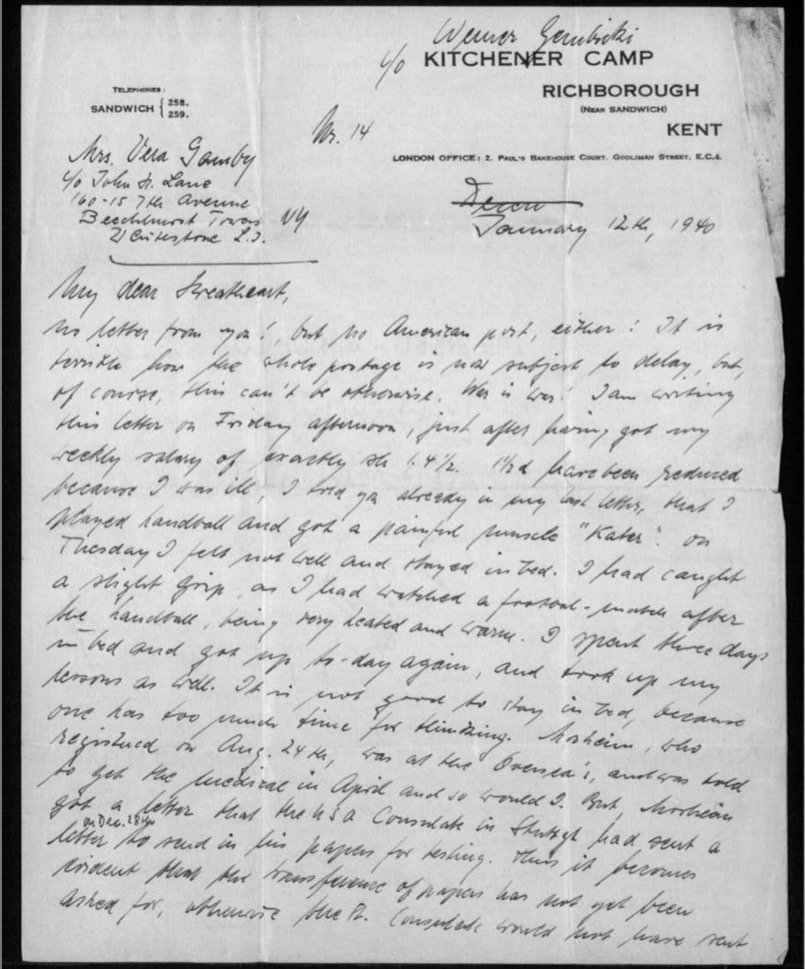 Werner Gembicki, Richborough transit camp, Letter, No US post has arrived in KC, all post subject to delays, Friday is weekly salary day, Reduced salary this week because of illness, Ongoing Consulate problems, 12 January 1940, page 1