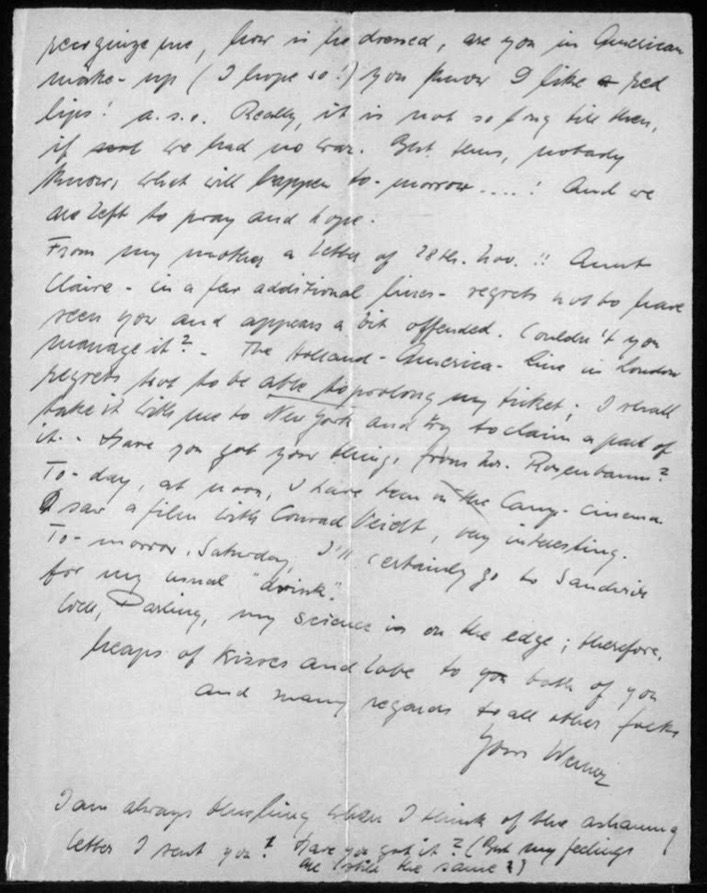 "Werner Gembicki, Kitchener camp, Letter, ""nobody knows what will happen tomorrow ... ! And we are left to pray and hope"", ""Today, at noon, I have been in the Camp-cinema. I saw a film with Conrad Veidt, very interesting"", (Ed. Possibly 'Contraband'; released as 'Blackout' in the USA), Visiting Sandwich on Saturday ""for my usual 'drink'"", 12 January 1940, page 3"