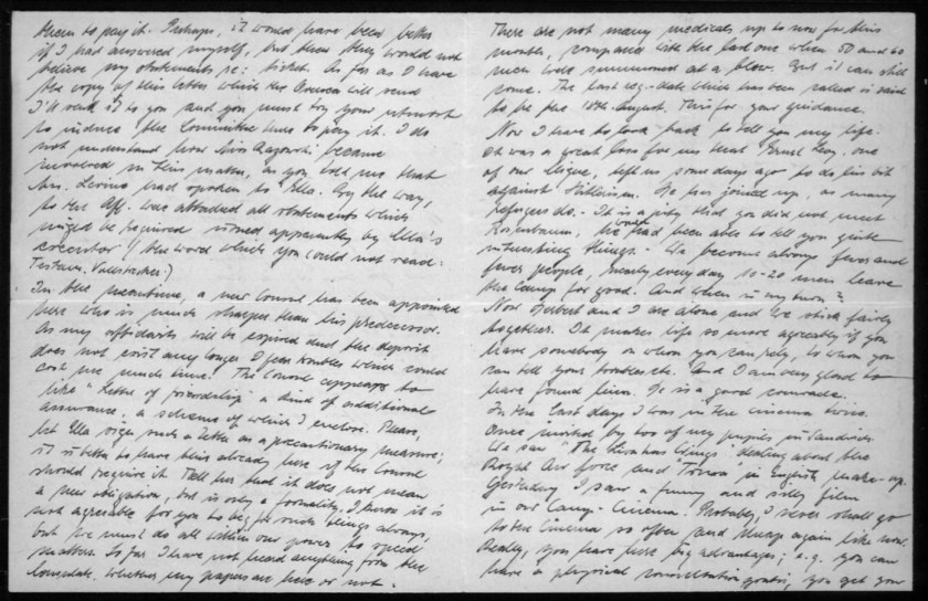 """Richborough transit camp, Werner Gembicki, Letter, A new Consul has been appointed, much sharper than his predecessor, """"As my affidavit will be expired and the deposit does not exist any longer I fear troubles"""", Consul likes 'Letter of Friendship', Not agreeable to have to beg but have to do all in our power, """"Not many medicals up to now for this month"""". """"It was a great loss for us that Ernst Levy, one of our Clique, left us some days ago to do his bit against Hitlerism. He has joined up, as many refugees do"""", """"We become always fewer and fewer people, nearly every day 10-20 men leave the camp for good. And when is my turn? Now Herbert and I are alone and we stick fairly together. It makes life go more agreeably if you have somebody on whom you can rely, to whom you can tell your trobles, etc. And I am glad to have found him. He is a good comrade"""", To cinema twice recently - invited by two of my pupils in Sandwich, Saw The Lion has Wings about the Royal Air Force, Also saw comedy in camp cinema, """"Probably I shall never go to the Cinema so often and cheap again like now"""", 2 February 1940, pages 2 and 3"""