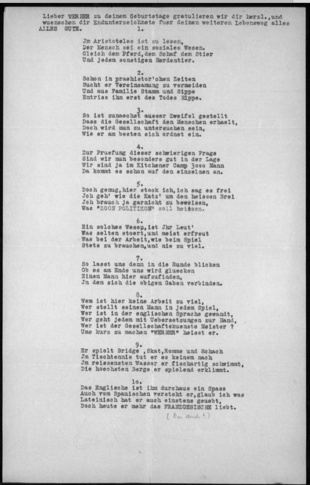 Werner Gembicki, Kitchener camp, Hut 36/II, Max Hamburger, Joseph Heumann, Herbert Mosheim, Ernst Levy, Alex Flechtheim, Fritz Eckstein, 25 November 1939, page 1
