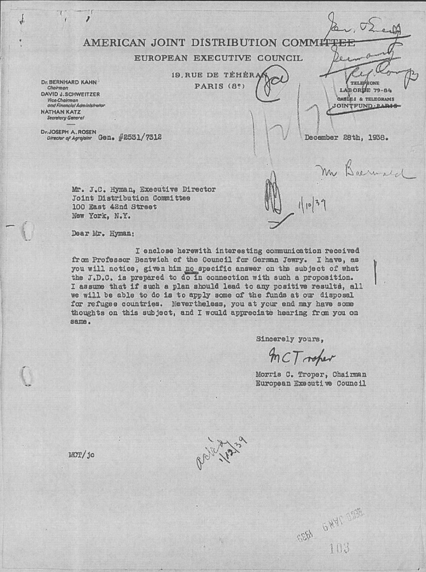 Richborough transit camp, The Joint, Letter, European Executive, Mr Hyman, Morris Troper, Bernhard Kahn, David Schweitzer, Nathan Katz, Joseph Rosen, Mr Bentwich, Council for German Jewry, Funding from JDC, 28 December 1938