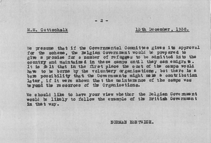 Richborough refugee transit camp, Council for German Jewry, Letter, Mr Gottschalk, Norman Bentwich, State contributions, Voluntary organisations, Belgian government, British government, 13 December 1938, page 2
