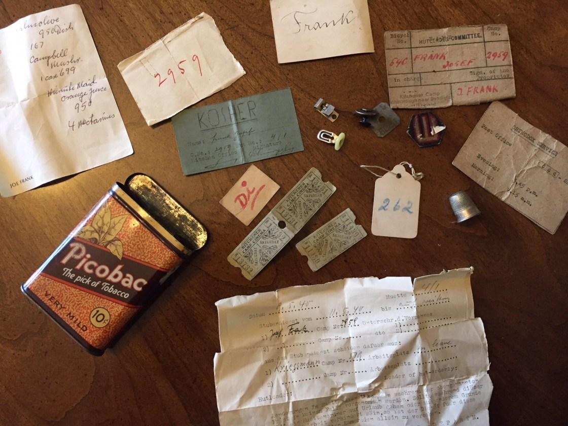 Richborough camp, Josef Frank, Items in cigarette tin, 1939