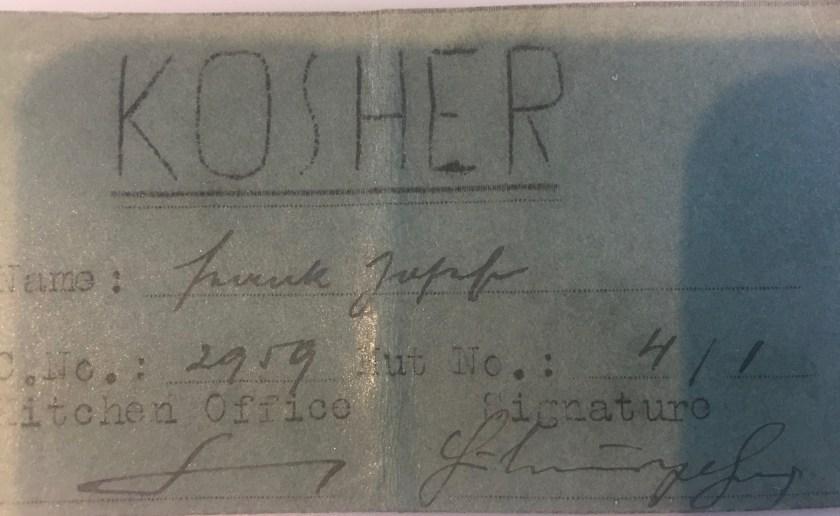 Richborough transit camp, Josef Frank, Kosher Kitchen Office ticket, Camp no. 2959, Hut no. 4/I