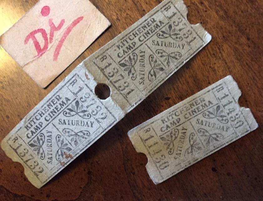 Kitchener camp, Josef Frank, Cinema ticket, Saturday, no.s 11430, 13732, 13731