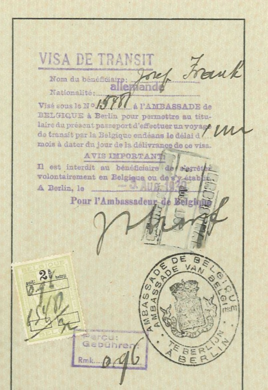 Kitchener camp, Josef Frank, Reisepass, Visa de Transit, 3 August 1939, Belgian ambassador in Berlin