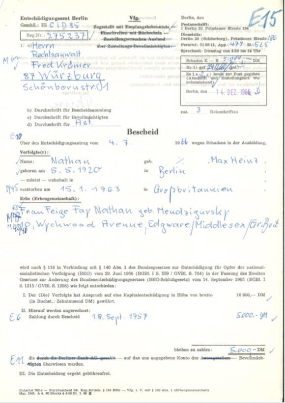 Kitchener camp, Max Heinz Nathan, Restitution claim, 18 September 1957