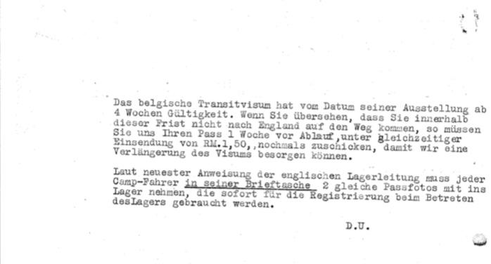 Kitchener camp, Josef Frank, Letter, Hilfsverein der Juden in Deutschland, transport to camp, 4 August 1939, page 2