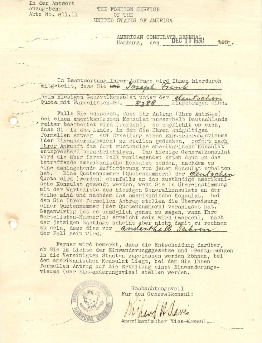 Kitchener camp, Josef Frank, Document, US Foreign Service, Waitlist number 8388, 16 December 1938