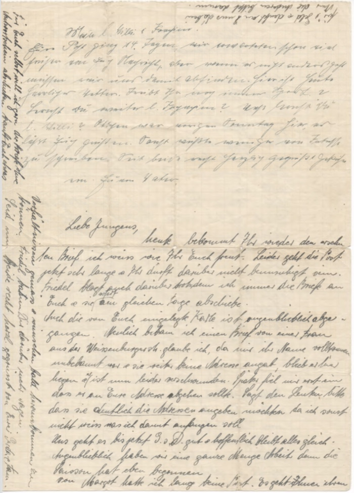 Richborough transmigration camp, Willi Reissner, Joachim Reissner, Letter, 1939, page 1