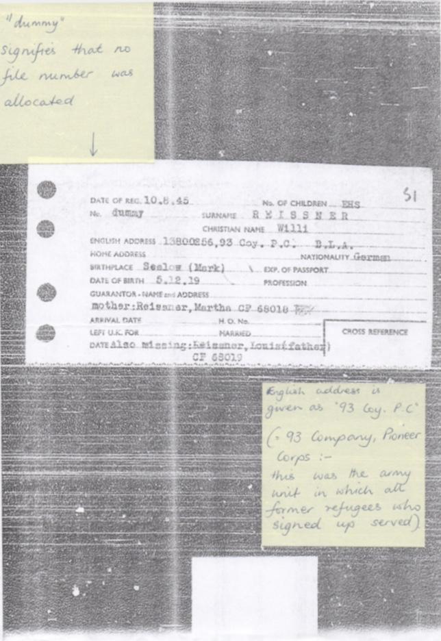 Richborough camp, Willi Reissner, World Jewish Relief, Registration card