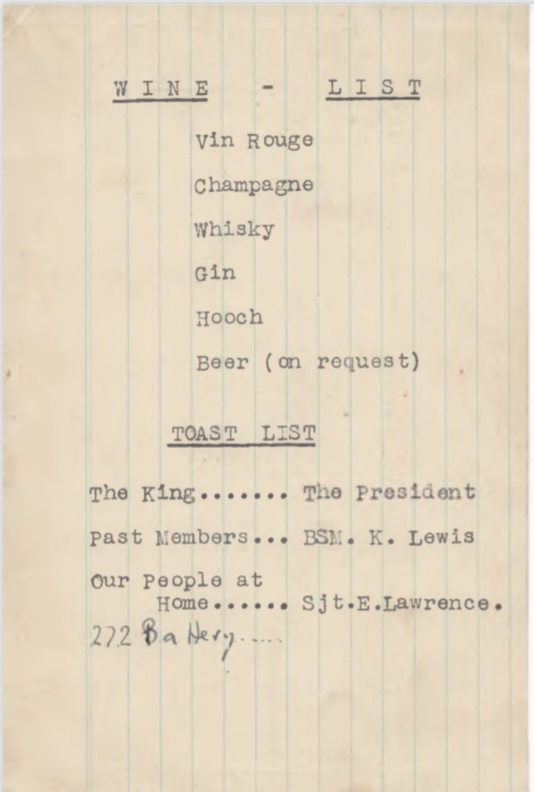 Kitchener camp, Pioneer corps, Wine List, Toast List, 272 battery, 25 December 1945