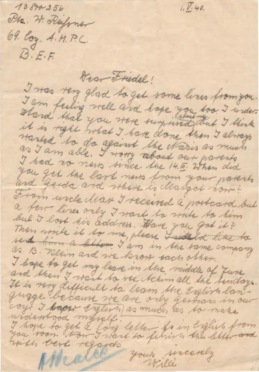 Kitchener camp, Willi Reissner, Letter, to Cousin Friedel, Pioneer Corps, 69 Coy, AMPC, British Expeditionary Force, 1 April 1940
