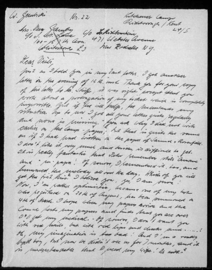 Kitchener camp, Werner Gembicki, Letter, Hut 24/I, page 1