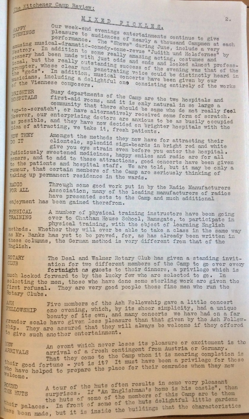 The Kitchener Camp Review, July 1939, No. 5, page 2