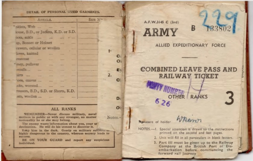 Kitchener camp, Willi Reissner, Army Book 64, Soldier's Service Pay Book, Allied Expeditionary Force, pages 1 and 2