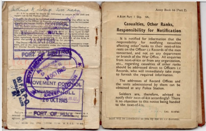 Kitchener camp, Willi Reissner, Army Book 64, Soldier's Service Pay Book, Pioneer Corps, Richborough, Authorised to exchange 2000 marks, Movement control, Dover sector, October 1945, pages 7 and 8