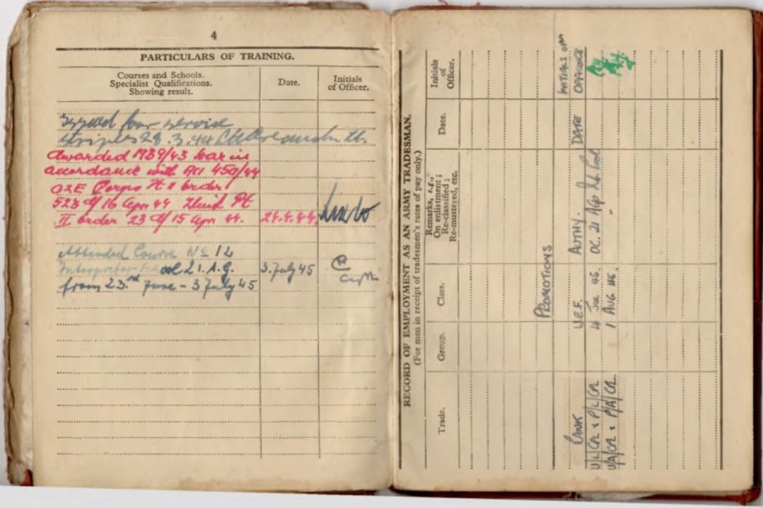 Kitchener camp, Willi Reissner, Army Book 64, Soldier's Service Pay Book, Pioneer Corps, Richborough, Particulars of Training, Promotions, pages 11 and 12