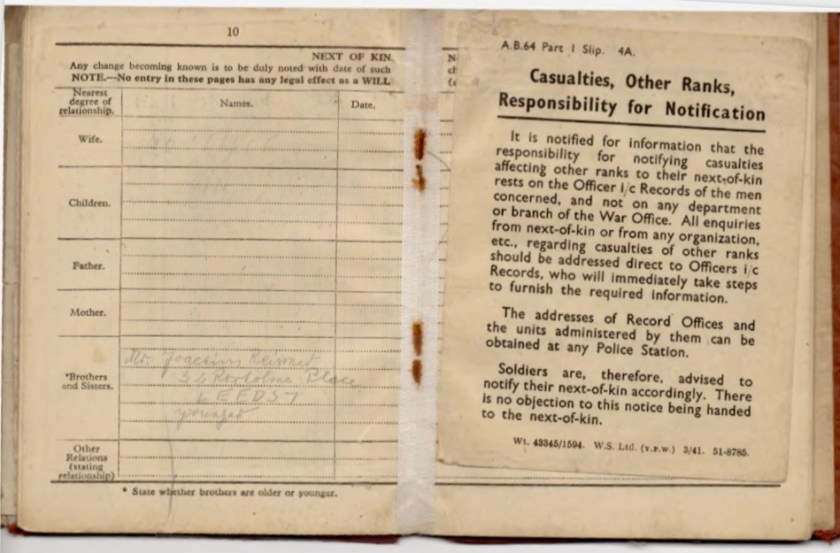 Kitchener camp, Willi Reissner, Army Book 64, Soldier's Service Pay Book, Pioneer Corps, Richborough, Next of Kin, Notes, pages 17 and 18