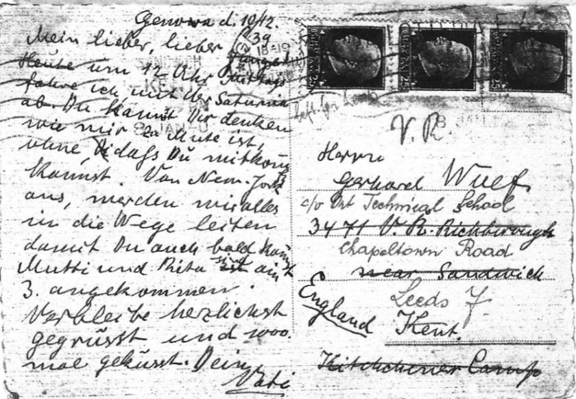 Kitchener camp, Gerhard Wolf, Berlin ORT - Postcard, 10 December 1939