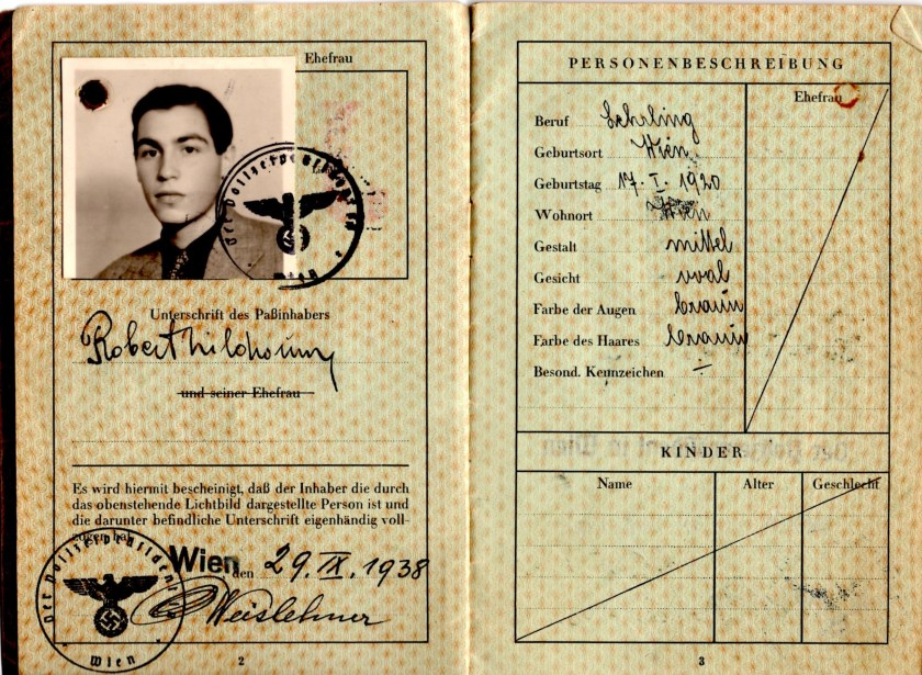 Kitchener camp, Robert Mildwurm, Deutsches Reisepass, German passport, Vienna, 29 September 1938