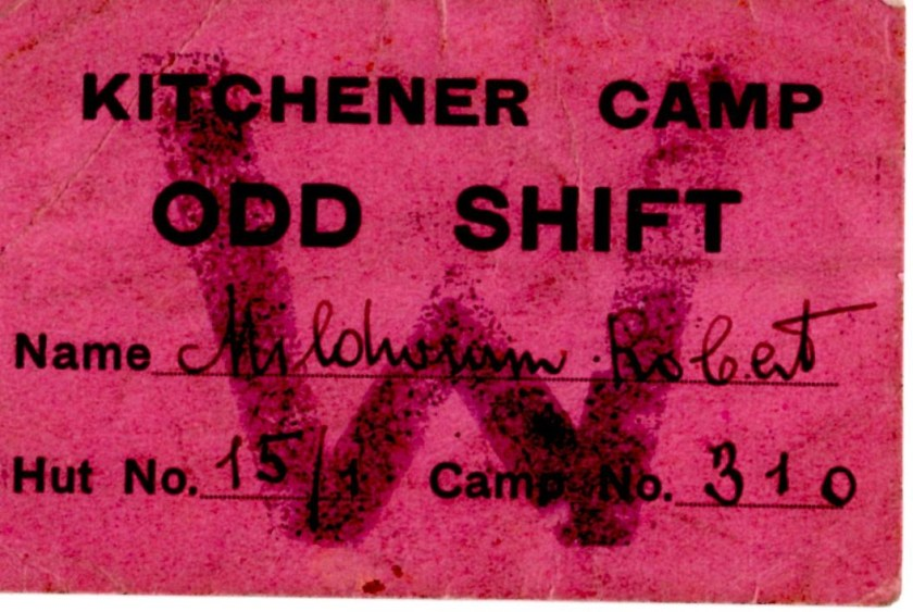 Kitchener camp, Richborough, Robert Mildwurm, Hut 15/I, Camp number 310, Odd Shift