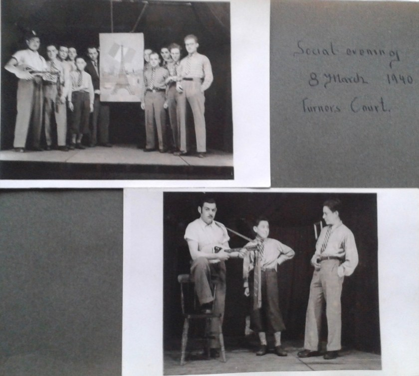 Kitchener camp, Horst Spies, Dovercourt Boys, Social evening, Turner's Court, 8 March 1940