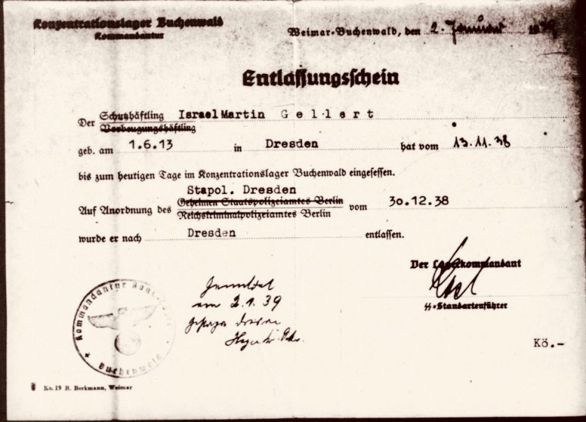 Martin Gellert, Certificate of release from Buchenwald, Signed Karl-Otto Koch, dated 30 December 1938, Released 2 January 1939Submitted by the Gellert/Gibbons family for Martin Gellert
