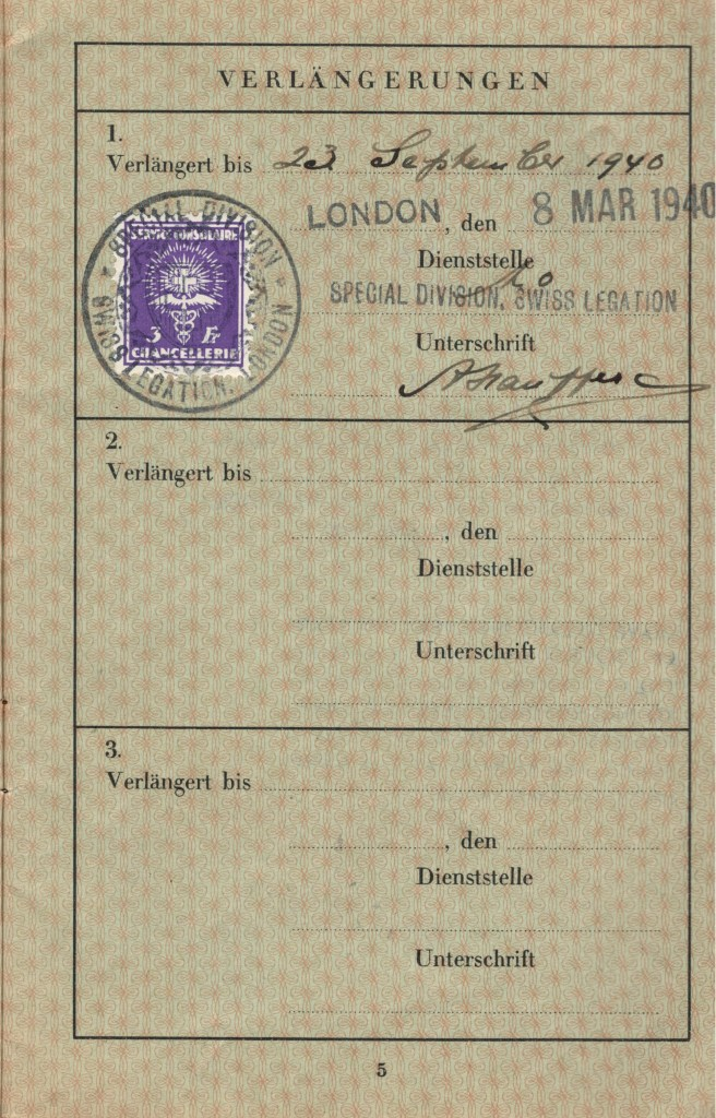 Kitchener camp, Herbert Weihs, Herbert Weiss, German Passport, Valid to 23 March 1940, Special Division, Swiss legation, 8 March 1940