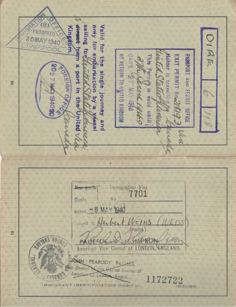 Kitchener camp, Herbert Weihs, Herbert Weiss, German Passport, American Vice Consul in London 6 May 1940, John Peabody Palmer Vice Consul of the USA in London, Visa Canada, United States, 27 June 1940, No return to United Kingdom, Valid for single journey, Foreign Office, Embarked 30 May 1930