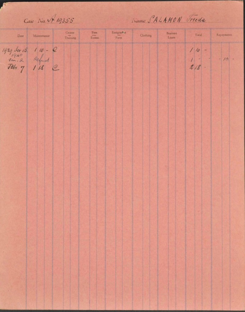 Kitchener camp, Ignatz Salamon, Wife, Frieda Salamon, German Jewish Aid form,  Case no. 19355, 1939