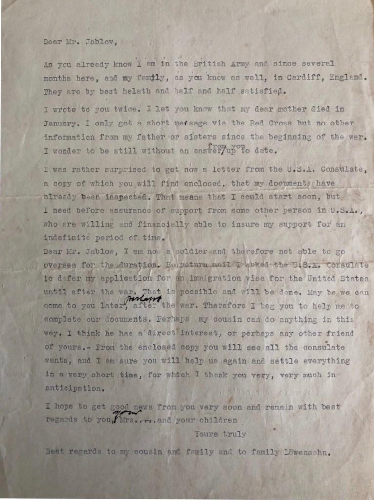 Kitchener camp, Ignatz Salamon, Letter, Sponsor to enter USA, I.Jablow & Co.,