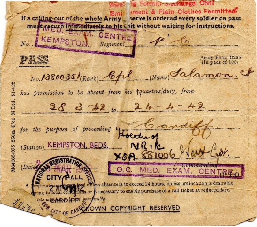 Ignatz Salamon, Permission for Leave, 28 March 1942 to 24 April 1942