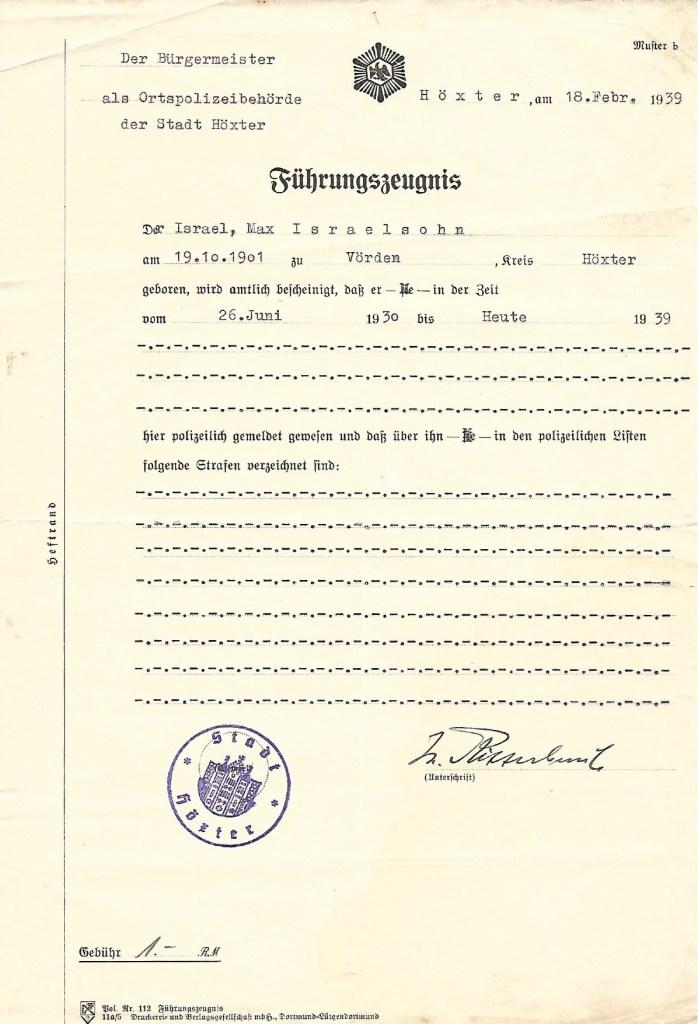 Kitchener camp, Max Israelsohn, Führungszeugnis, Police certificate, 18 February 1939