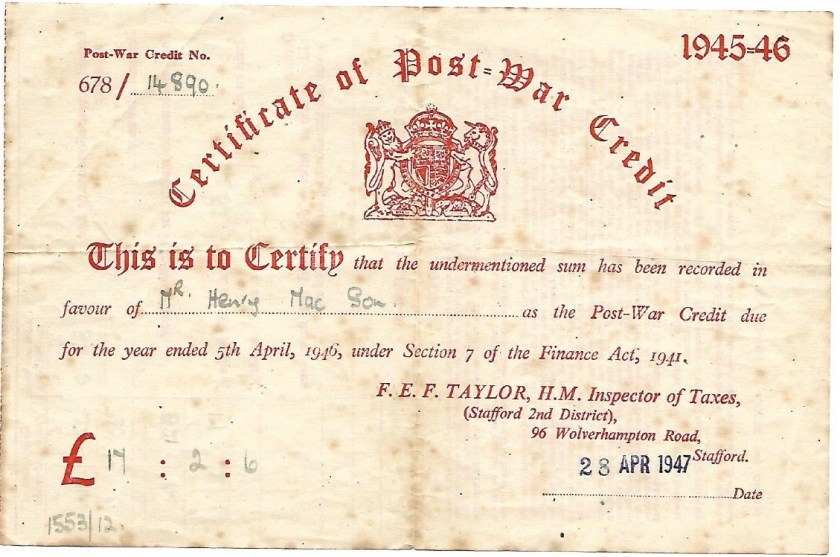 Kitchener camp, Max Israelsohn, Certificate of war credit, 28 April 1947