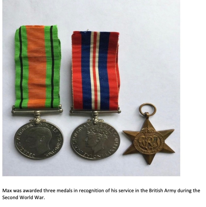 Kitchener camp, Max Sieger, Pioneer Corps, Army service medals