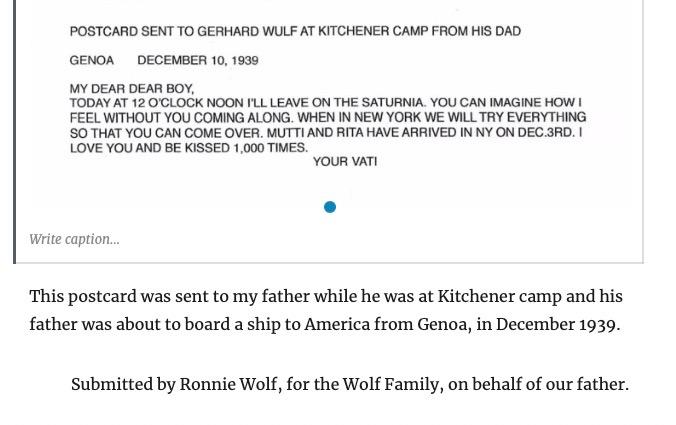 Kitchener camp, Berlin ORT, Gerhardt Wolf, Postcard, Translation, ORT Technical School, Leeds, 8 January 1940
