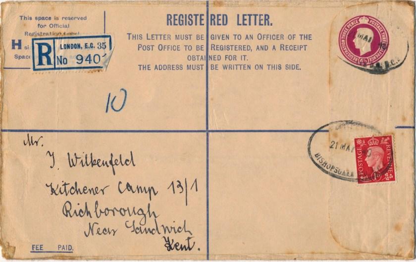 Kitchener camp, Isidor Wilkenfeld, Registered Letter, Hut Number 13/I, 21 March 1940