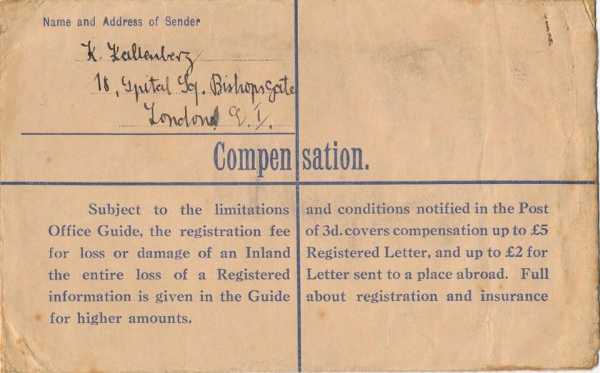Kitchener camp, Isidor Wilkenfeld, Registered Letter, Hut Number 13/I, Reverse, 21 March 1940