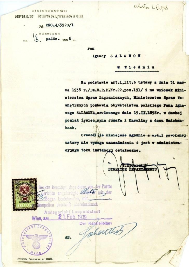 Kitchener camp, Ignatz Salamon, Ministry of Internal Affairs, Warsaw, 18 October 1938