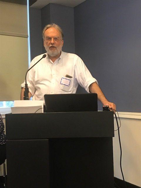 Frank Mecklenburg addresses Kitchener camp descendants at the Leo Baeck Institute in New York - May 2019