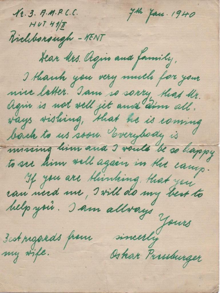 Kitchener camp, Jack Agin, Camp chief cook, Letter, Training ground number 3, AMPC, Hut 41/II, Oskar Pressburger, 7 January 1940