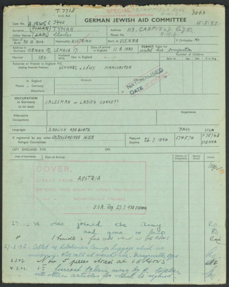 Kitchener camp, Karl Timan, German Jewish Aid Committee, Camp number 3080, Arrival 11 August 1939
