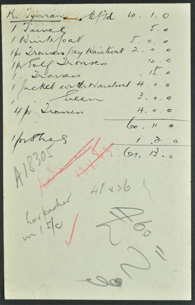 Kitchener camp, Karl Timan, German Jewish Aid Committee, Hand-written list of items