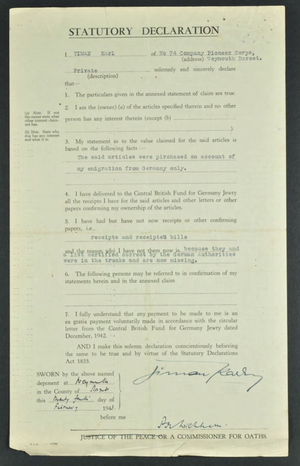 Kitchener camp, Karl Timan, German Jewish Aid Committee, Statutory Declaration, Luggage claim 1943